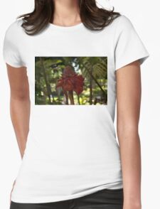 Glossy Jewel in the Jungle - Red Torch Ginger Lily Womens Fitted T-Shirt