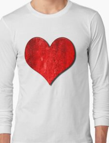Heart With Grungy Bevelled Texture Long Sleeve T-Shirt