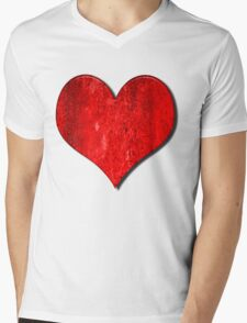 Heart With Grungy Bevelled Texture Mens V-Neck T-Shirt