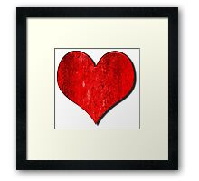 Heart With Grungy Bevelled Texture Framed Print