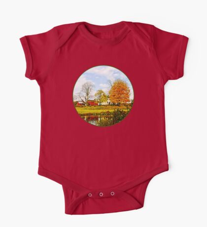 Farm by Pond in Autumn One Piece - Short Sleeve