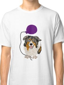 Cool and Funny Australian Shepherd with Purple Balloon Classic T-Shirt