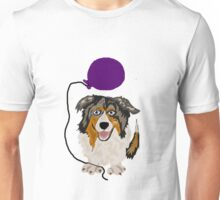 Cool and Funny Australian Shepherd with Purple Balloon Unisex T-Shirt