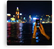 Hong Kong Skyline and iphone Canvas Print