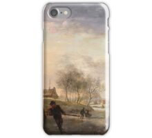 Johannes Maas the Younger, Ice Skating before a Dutch Town iPhone Case/Skin