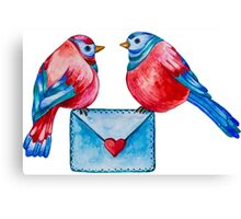 Watercolor Birds with Love Letter Canvas Print