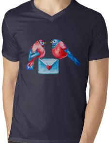 Watercolor Birds with Love Letter Mens V-Neck T-Shirt