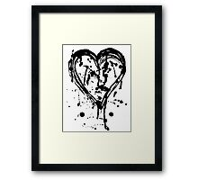 Black ink heart Framed Print