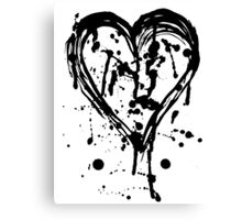 Black ink heart Canvas Print