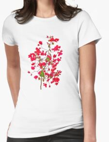 Red petals flowers Womens Fitted T-Shirt