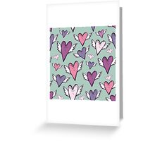 Romantic hearts with wings  Greeting Card