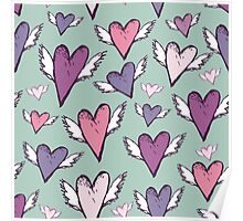 Romantic hearts with wings  Poster