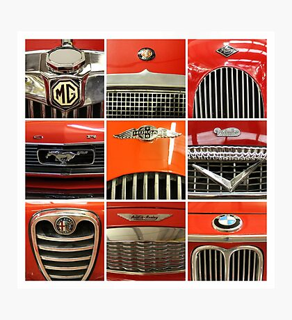 Nine Red Sports Cars Photographic Print