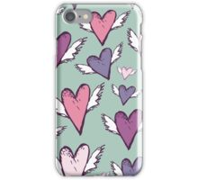 Romantic hearts with wings  iPhone Case/Skin