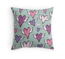 Romantic hearts with wings  Throw Pillow