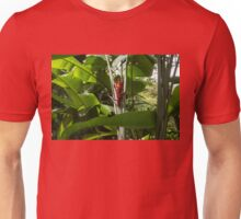 Red Ginger Flower, Framed in Lush Jungle Green Unisex T-Shirt