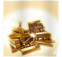 A stack of shining gold bullion  Poster