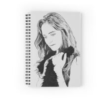 Digitally manipulated longing Emotional woman drawing in black and white  Spiral Notebook