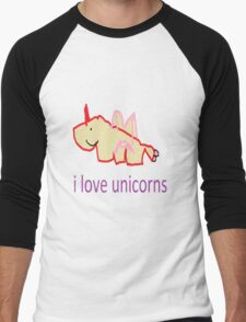 i love unicorns  Men's Baseball ¾ T-Shirt