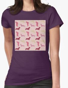 """Cotton Candy"" Dachshund Pattern Womens Fitted T-Shirt"