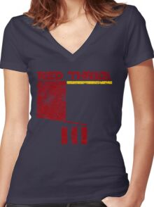 Red Three Women's Fitted V-Neck T-Shirt