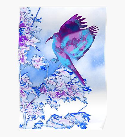 Abstract Bird in Tree Poster