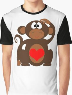 Monkey Love Cute Fun Graphic T-Shirt