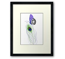 Butterfly on Peacock Feather Framed Print