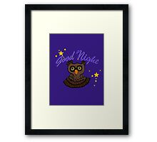 Owl says Good Night Framed Print