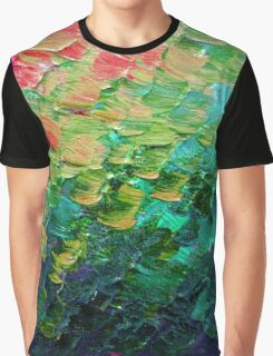 MERMAID SCALES 4 Rainbow Colorful Ombre Ocean Waves Abstract Acrylic Impasto Painting Teal  GreenArt Graphic T-Shirt