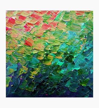 MERMAID SCALES 4 Rainbow Colorful Ombre Ocean Waves Abstract Acrylic Impasto Painting Teal  GreenArt Photographic Print
