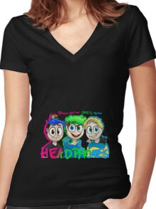 """""""My heroes don't need capes. They have headphones"""" Women's Fitted V-Neck T-Shirt"""