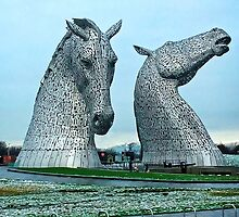 The Kelpies in January by Tom Gomez