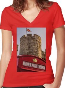 British Telephone box in Canterbury Women's Fitted V-Neck T-Shirt
