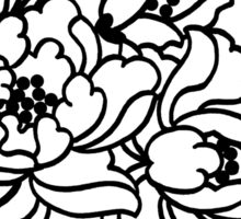 Chinese Peony- Black on White Sticker