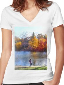 Little Girl Skipping Rocks Women's Fitted V-Neck T-Shirt