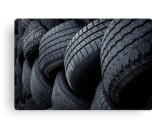 The wall of tyres Canvas Print
