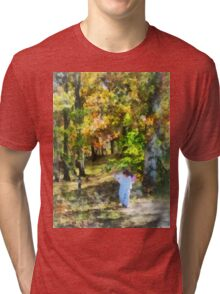 Little Girl Walking in Autumn Woods Tri-blend T-Shirt