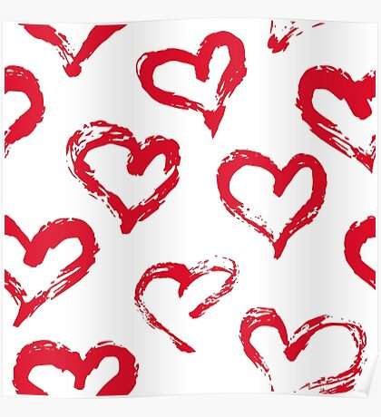Ink brush HEARTS Poster
