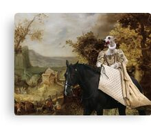 Whippet Art Canvas Print - The rural road and horseride Lady Canvas Print