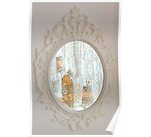 White rococo magic mirror fairy lights bokeh Poster