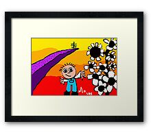 sunset on the horizon boy flowers tree Framed Print
