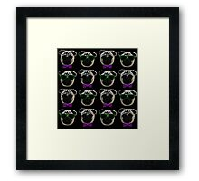 """Cool Pugs"" purple/green Framed Print"