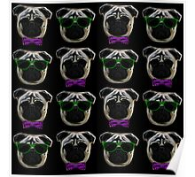 """Cool Pugs"" purple/green Poster"