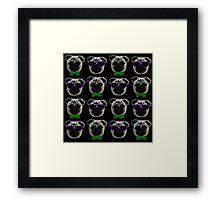 """Cool Pugs"" green/purple Framed Print"