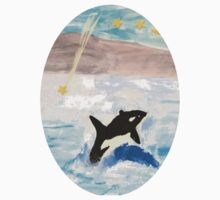 Mixed Media Whale Under A Night Sky One Piece - Short Sleeve
