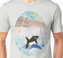 Mixed Media Whale Under A Night Sky Unisex T-Shirt