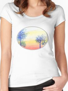 Sunset with Blue Trees Women's Fitted Scoop T-Shirt