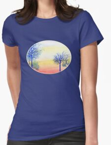 Sunset with Blue Trees Womens Fitted T-Shirt