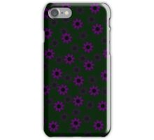 Purple & Black Floral Pattern (on moss) iPhone Case/Skin